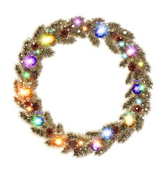 Christmas Wreath balls isolated white background vector image