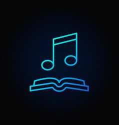 musical note with book blue icon vector image vector image