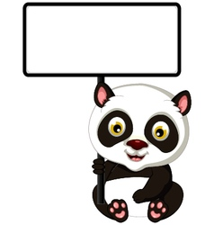 panda cartoon sitting with blank sign vector image vector image