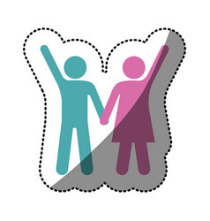 sticker silhouette color pictogram man and woman vector image vector image