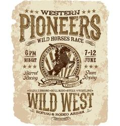 Western pioneers rodeo vector image vector image