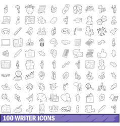 100 writer icons set outline style vector image