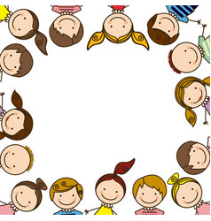 colorful border with half body group cartoon vector image