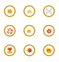 game explosion icons set cartoon style vector image