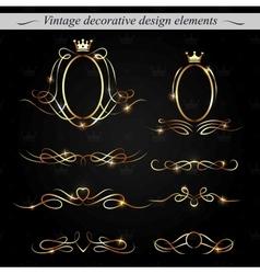 Golden decorative design elements vector image vector image