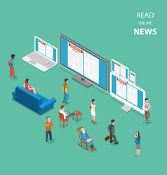 online news flat isometric concept vector image vector image