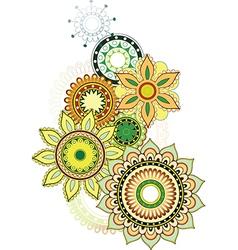 Set of ethnic floral design vector image
