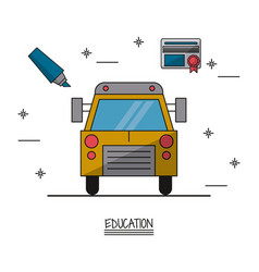 white background poster of education with school vector image vector image