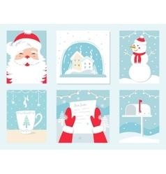 Christmas and Winter Holidays Cards Santa vector image vector image