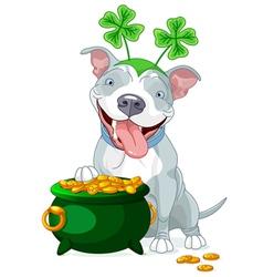 Pit bull celebrates Saint Patrick Day vector image vector image