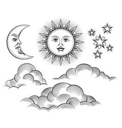 retro engraved moon sun celestial faces vector image