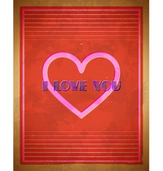 Retro Valentines Day card with heart shape vector image vector image