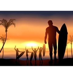 Surfers Having a Beach Party vector image