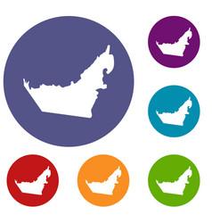 united arab emirates map icons set vector image