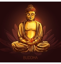 Buddha On Lotus Flower vector image