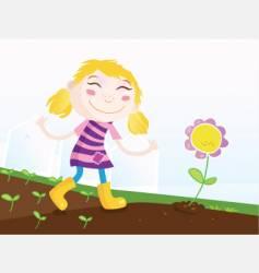 girl in garden vector image