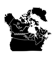 Map of canada canada single icon in black style vector