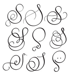 set of art calligraphy letter s with flourish of vector image