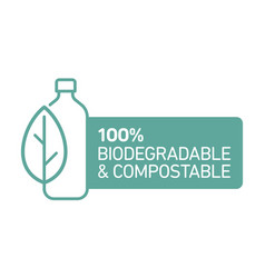 100 bioplastic biodegradable compostable line icon vector