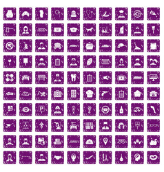 100 favorite work icons set grunge purple vector image vector image
