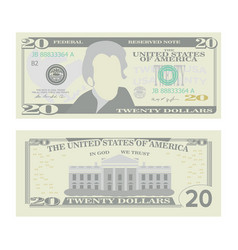 20 dollars banknote cartoon us currency vector