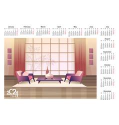 2021 calendar apartment interior english vector image