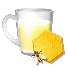 A glass mug milk and honey isolated on white vector