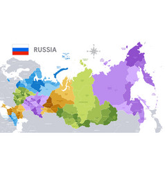 Administrative map russian federation vector