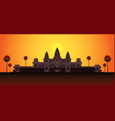 Angkor wat in sunrise cambodia vector