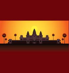 Angkor wat in sunrise cambodia vector