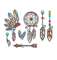 authentic indjun culture objects with feathers vector image