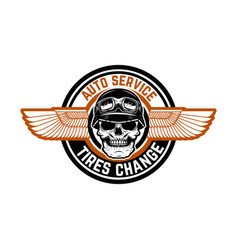 Auto service tires change emblem with racer skull vector