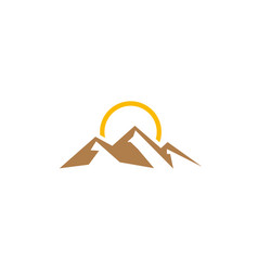 big mountains with sun up for logo design vector image