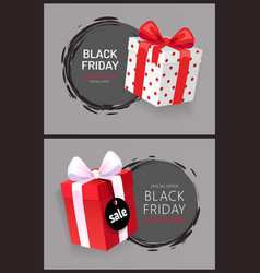 Black friday sale 3d gift boxes with price tags vector