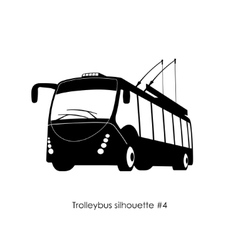 black silhouette trolley bus vector image