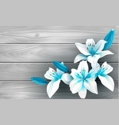 blue and white flowers on wood vector image