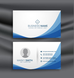 Blue wave simple business card design template vector