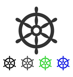 Boat steering wheel flat icon vector
