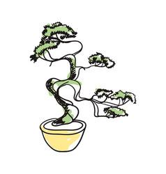 bonsai tree in pot hand drawn icon vector image