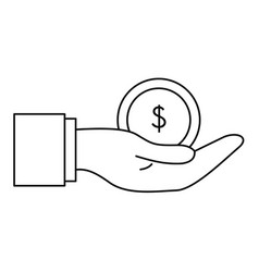 bribery money coin icon outline style vector image