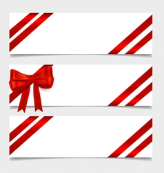 Card note with gift bows and ribbons vector image