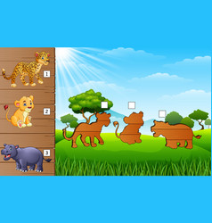 Cartoon africa animals collection set find the co vector