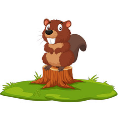 cartoon beaver on tree stump vector image