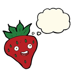Cartoon happy strawberry with thought bubble vector
