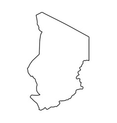 Chad map of black contour curves on white vector