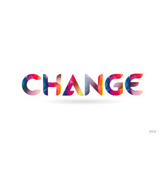 Change colored rainbow word text suitable for vector