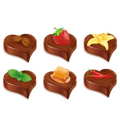Chocolate candy heart with different fruits vector