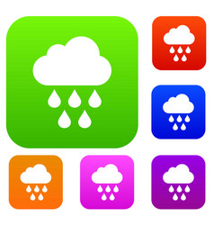 cloud with rain drops set collection vector image
