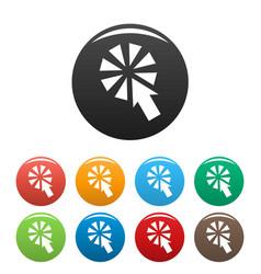 cursor interactive click icons set color vector image