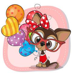Cute cartoon puppy with balloons vector